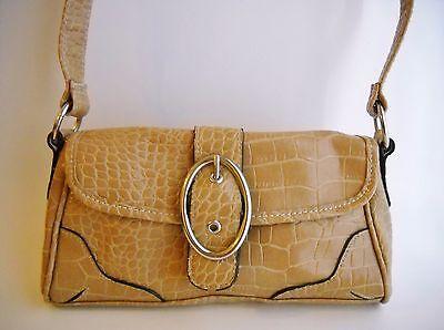 Camel Tan Faux Leather Crocodile Shoulder Bag Purse Handbag Silver Metal Buckle