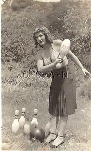 Original Vintage 1940s-60s Semi Nude RP- Blond- Bends Over