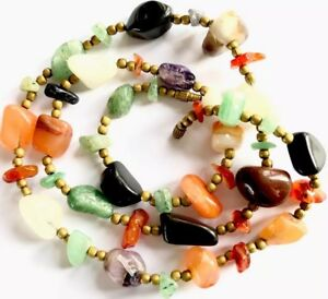 Vintage-Scottish-Agate-Pebble-Bead-Necklace-25-Inches-Long