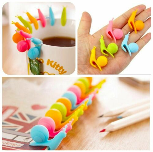 25Pcs Cute Snail Shape Silicone Bag Holder Mug Colou Kitchen Gift Candy K1M4