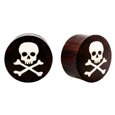 SEXY Skull & CrossBuffalo Bones Sono Wood Organic Plugs PAIR Flesh Rare Unique