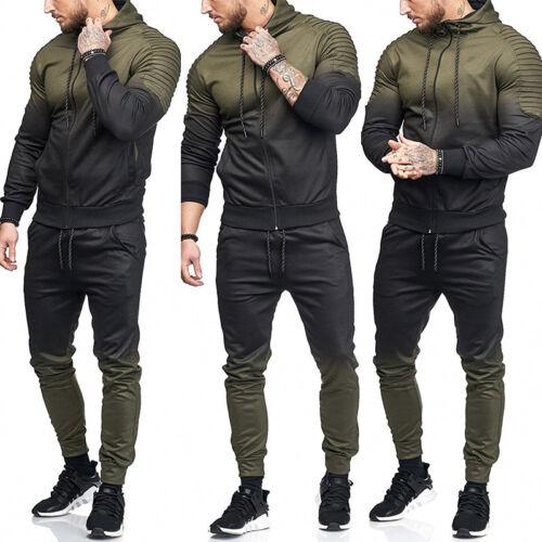 Mens Tracksuit Hoodies Hooded Camo Jacket Jogging Pants Bottom GYM Sportswear UK