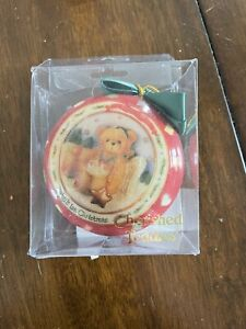 Cherished Teddies Christmas Ornament Baby's First Christmas Red 3 1/4 Enesco kh