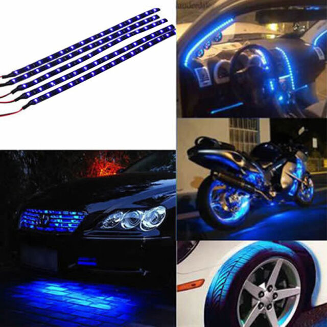 30cm Waterproof 15 Blue LED Car Vehicle Motor Grill Flexible Light Strips 12V GE