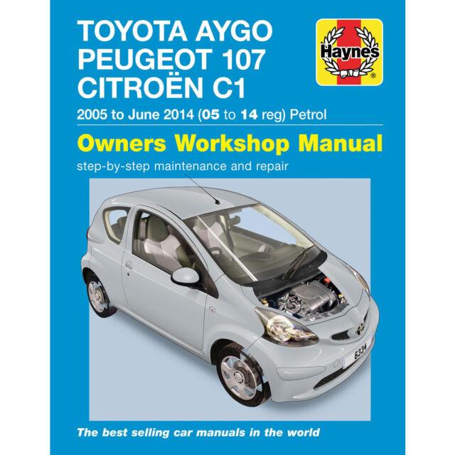haynes 6334 manual toyota aygo peugeot 107 citroen c1 petrol 05 rh ebay co uk peugeot 107 manual 2011 peugeot 107 manual 2010