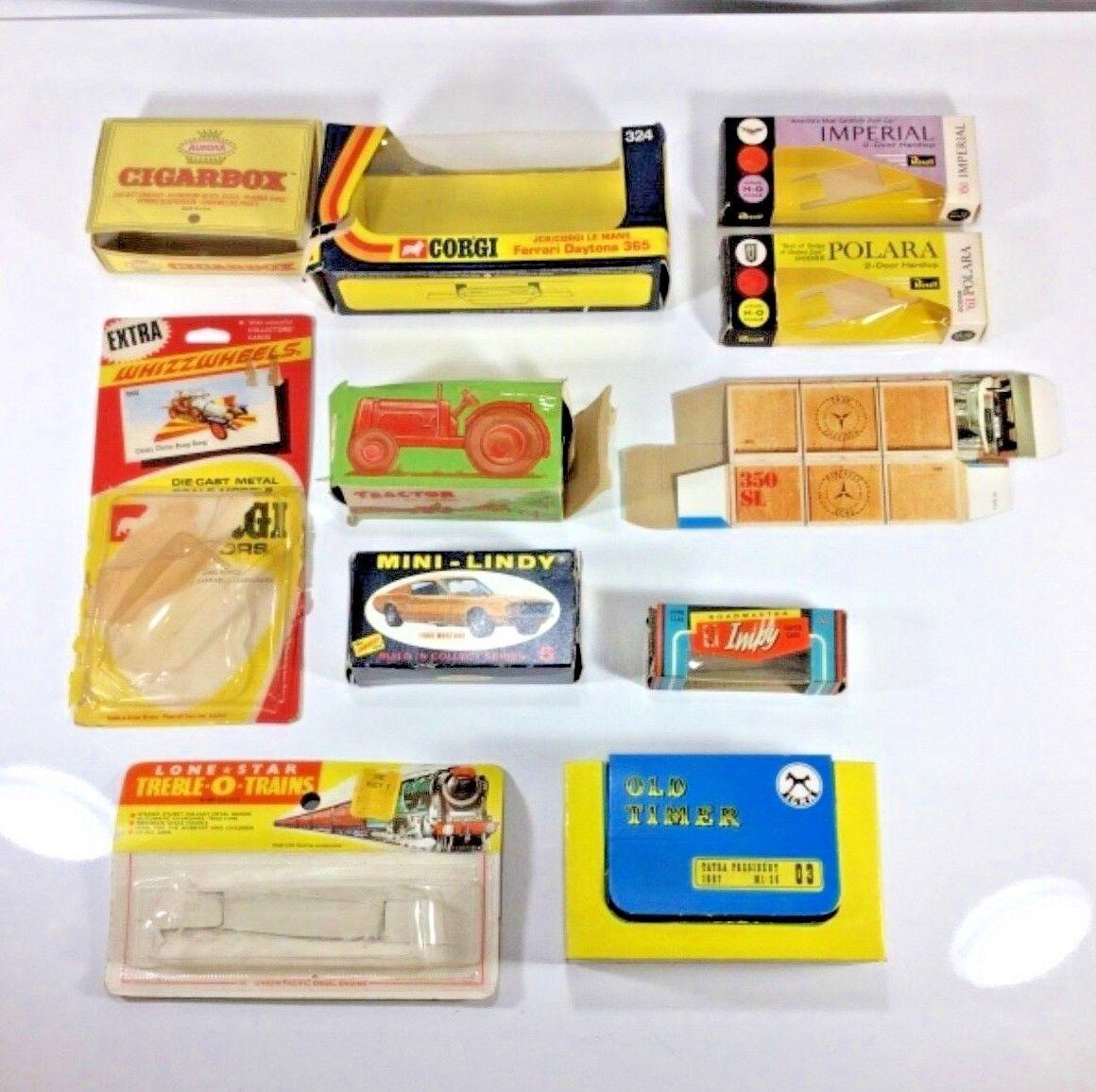 11 Matchbox, Aurora, Revell, Impy, Mini Lindy, Lone Estrella, Charbens CL Caja vacía