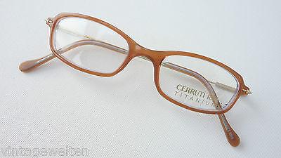 Cerruti Acetatbrille Extra Kleine Glasform Titanium-bügel 46-16 Zierlich Size S