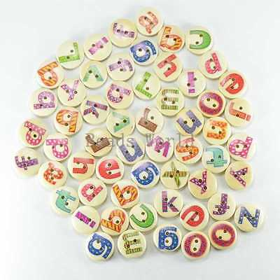 100 Random Mixed Letter Pattern 2 Holes Wood Sewing Buttons Scrapbooking 15mm