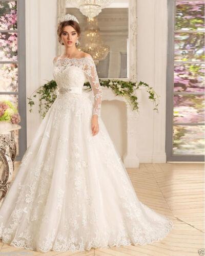 Rustic Ivory Vintage Cap  Lace Wedding Dresses Bridal Size Custom Long Sleeve