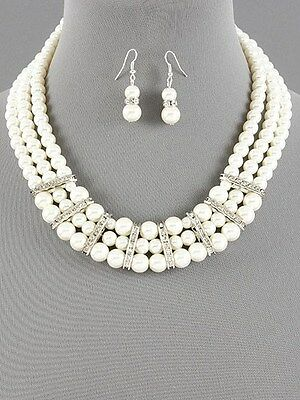 Pearl Layered Necklace Set Crystal Earrings Fashion Jewelry Bridal Wedding Prom