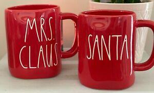 NEW-RAE-DUNN-LL-SANTA-amp-MRS-CLAUS-RED-CHRISTMAS-MUGS-SET-OF-2-HTF