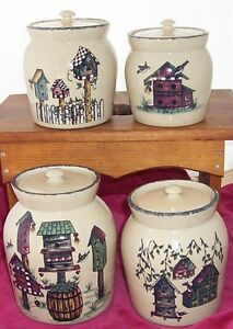 Home Garden Party Birdhouse Canisters 4 Pottery Flour