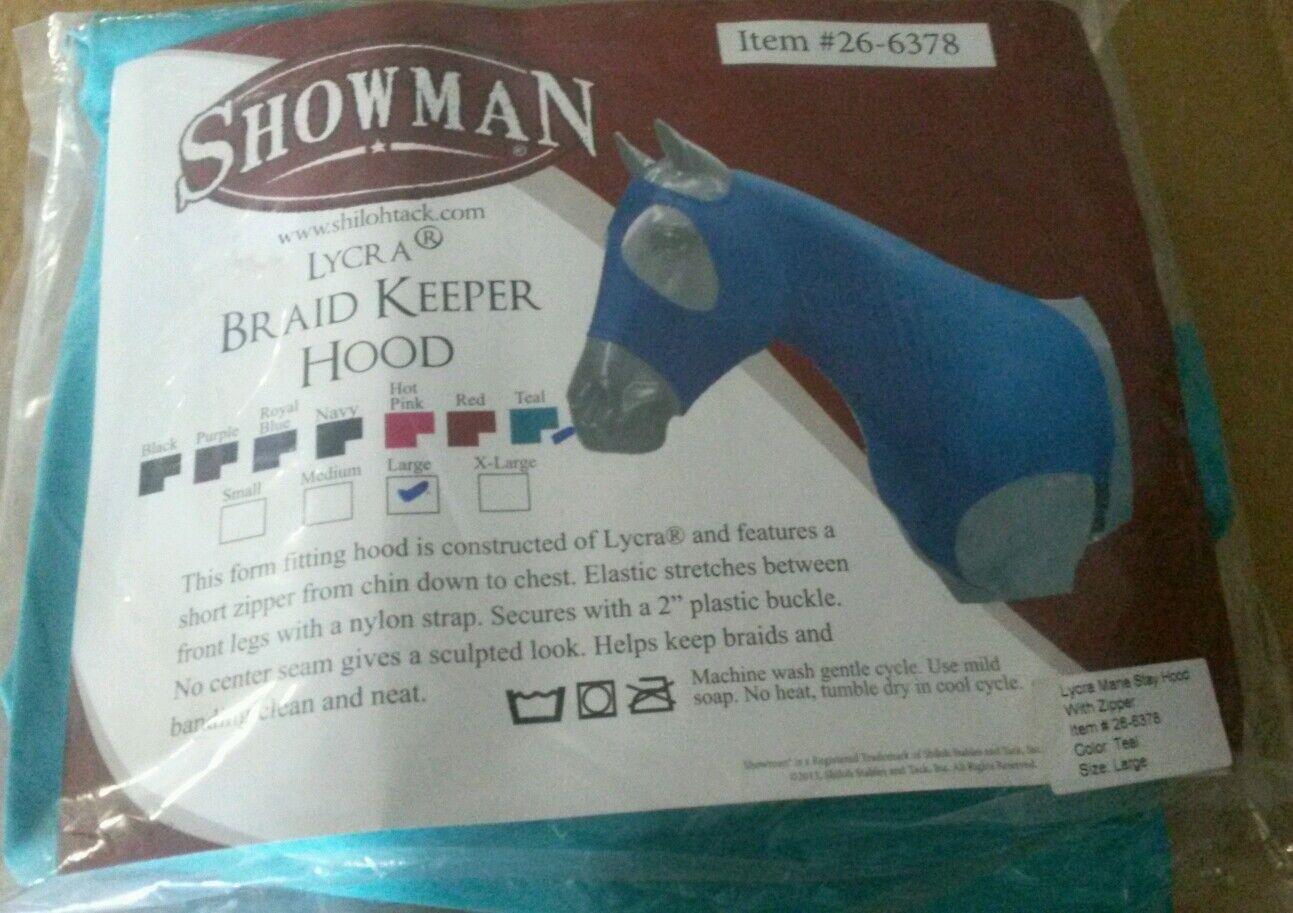 Showman Size Large Teal Braid Keeper Form Fitting Horse Hood 3 4 zipper