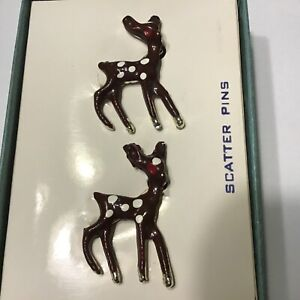 Deer-Fawn-Enamel-Scatter-Pins-Brooches-Vintage-In-Original-Box