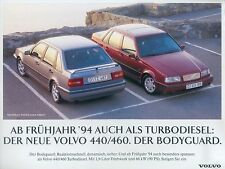 Volvo 440 460 Turbodiesel Prospekt 1994 1 Bl. brochure Auto PKWs Autoprospekt