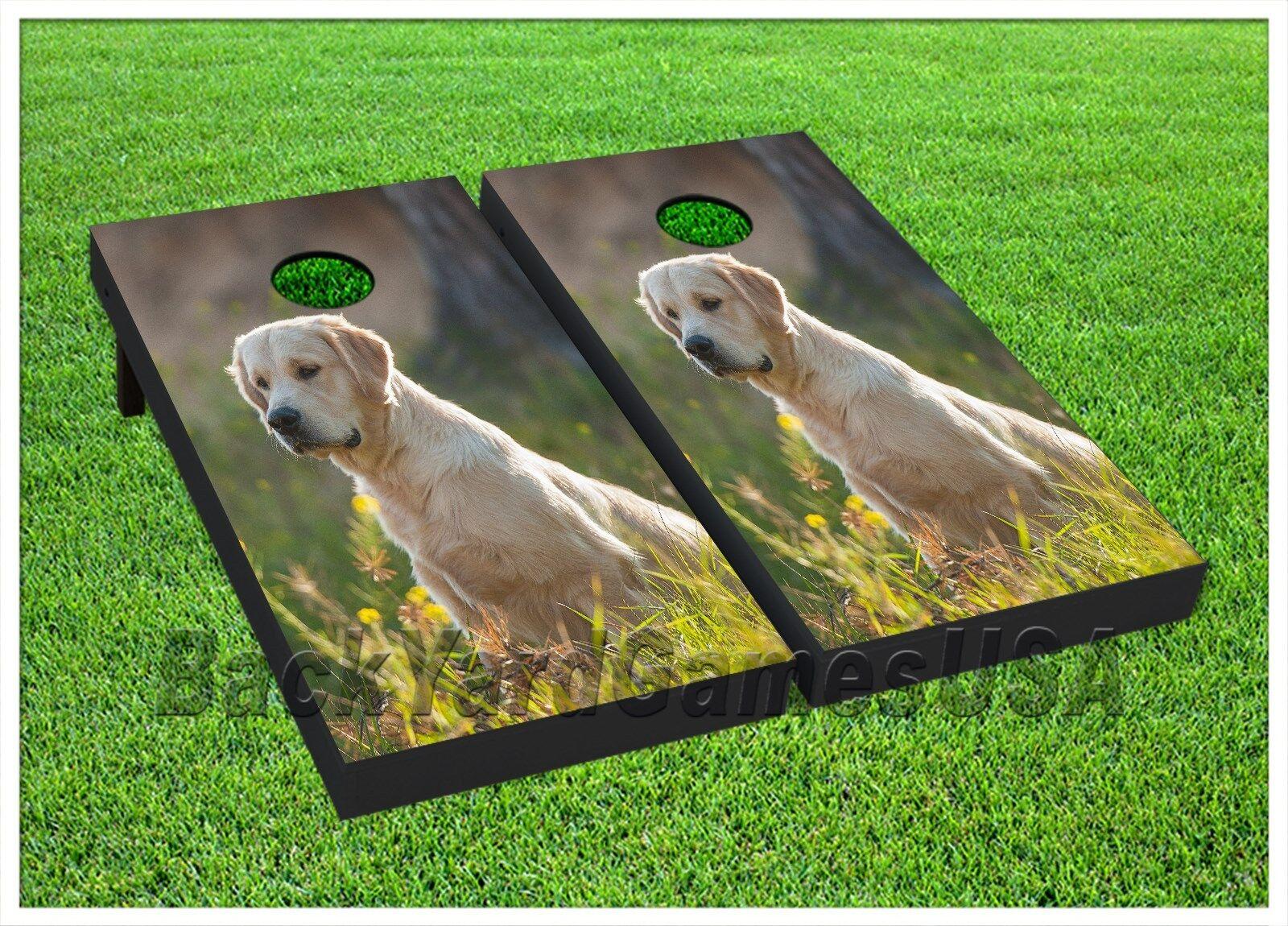 goldEN RETRIEVER Cornhole Boards BEANBAG TOSS GAME w Bags DOG Puppy Lab Set 293