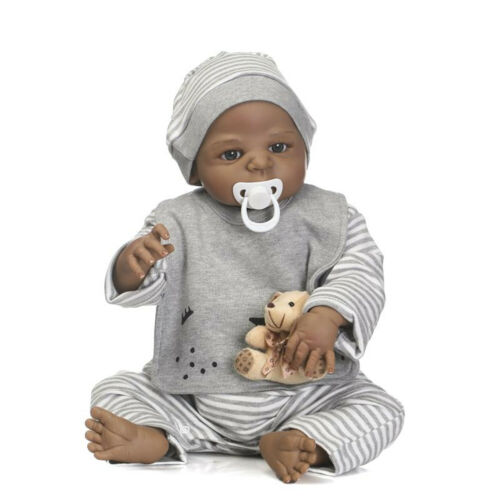 "23/"" Full Silicone Reborn Baby Dolls African Newborn Boy Dolls Waterproof Black"
