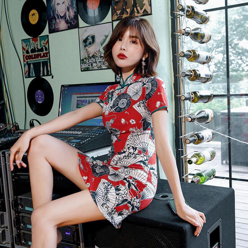 Women New Retro Cotton Linen Improved Cheongsam A-line Skirt Printed Short Dress