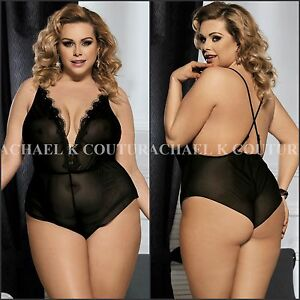 60a06d7558f AU Sexy Plus Size Black V-neck Lace Teddy Mini Backless Romper ...