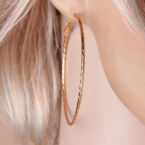 "9ct 9K Yellow /""GOLD FILLED/"" Ladies Large HOOP EARRINGS L= 64mm /""Gift/"",646"