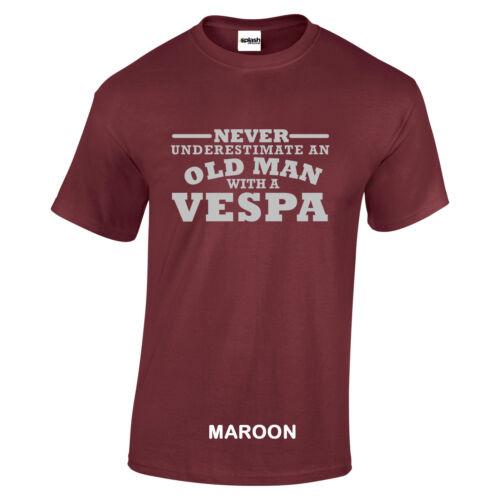 Vespa Niemals Underestimate an Old Man With A T-Shirt Silber Logo Größe Bis 5XL