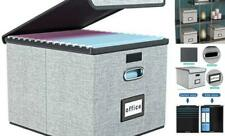 Upgrade Portable File Organizer Box With Lids Collapsible Linen Hanging Gray
