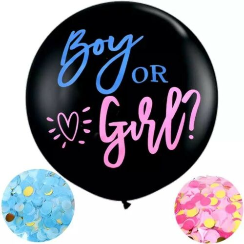 """Gender Baby Reveal Balloon Large 36/"""" Baby Shower Balloon Pink or Blue Confetti"""