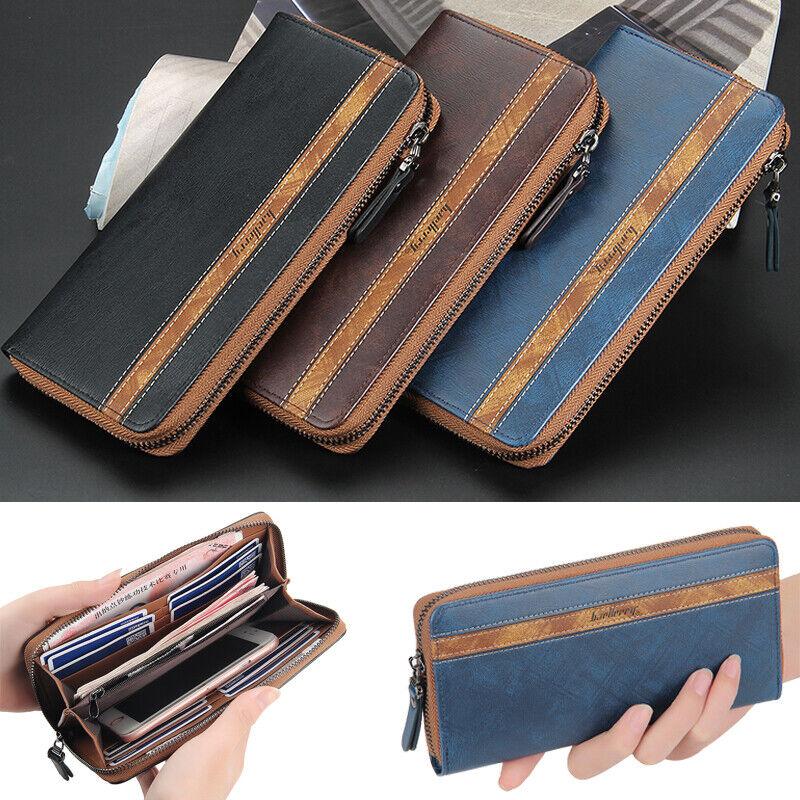 Long Men PU Leather Clutch Wallet ID Card Holder Bifold Purse Zipper Handbag US
