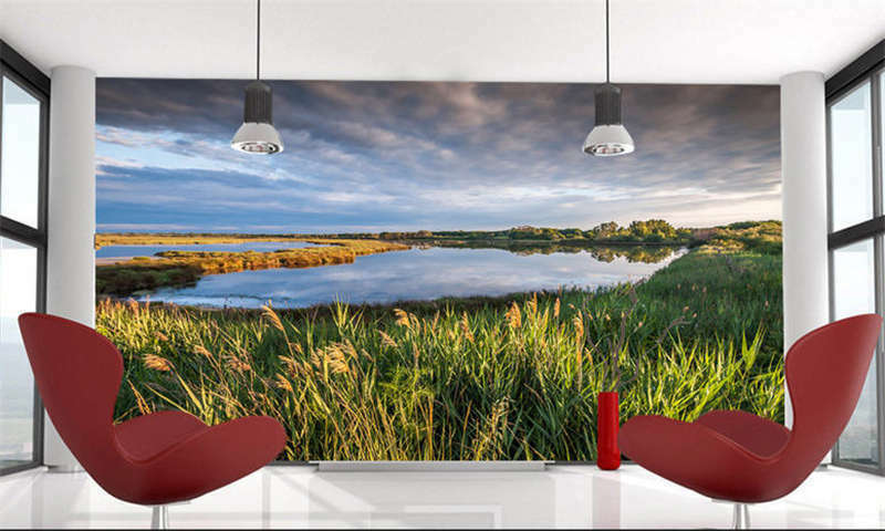 Grass Peaceful Lake Full Wall Mural Photo Wallpaper Printing 3D Decor Kids Home