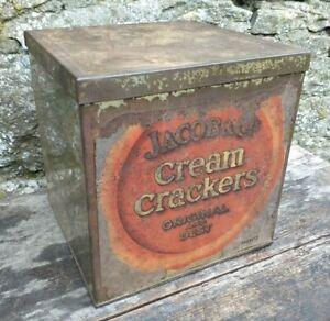 Collectable-Rare-c1930-039-s-Vintage-Jacob-amp-Co-039-s-Cream-Crackers-Tin