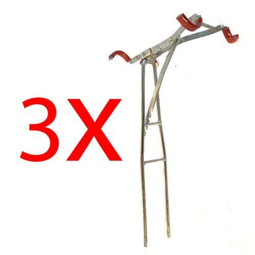 3xkitF8 3x Kitablagen für 2 Rute Rutenablage Rutenhalter Rutenauflage Erdspeer