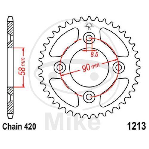 JT Kettenrad 37 Zähne Teilung 420 schwarz JTR1213.37