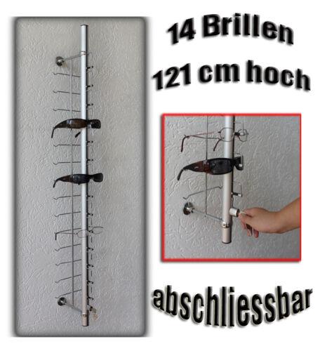 Alu Säule Brillenwandhalter Brillenständer für 14 Brillen abschliessbar 121cm