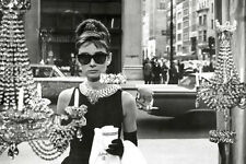 Audrey Hepburn Window Poster! Beauty Breakfast at Tiffany's Black and white NYC
