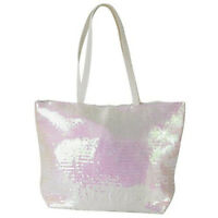 Free Shipping White Pearl Large Sequin Purse Handbag Tote With Pocket Zipper