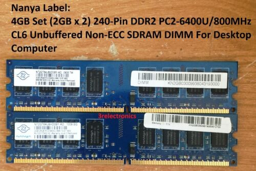 2GBx2 240-PIN DDR2 PC2-6400U//800MHz CL6 Desktop DIMM For Dell 4GB Set HP ...