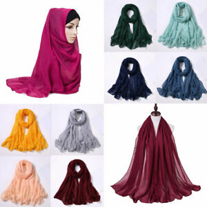 Women-039-s-Chiffon-Scarf-Muffler-Bubble-Solid-Muslim-Hijab-Head-Scarves-Wrap-Shawl