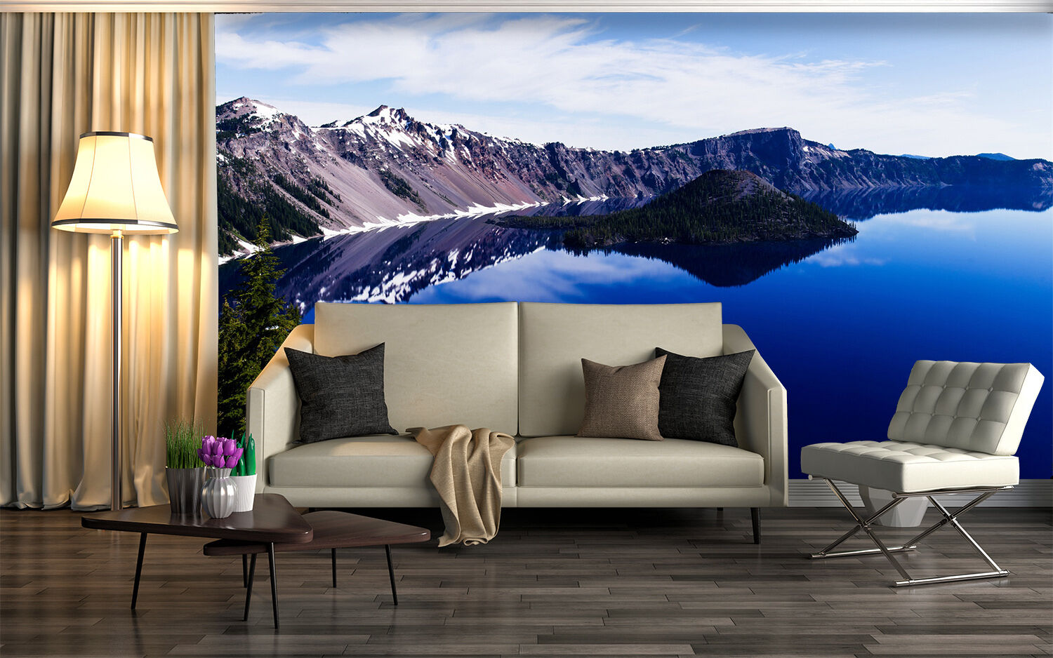 3D sky mountain River water wall Paper Print Decal Wall Deco Indoor wall Mural