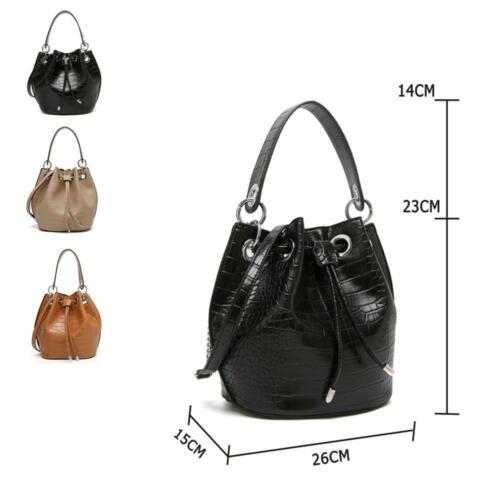 Women/'s Designer Style Croc Print Fashion Bucket Shoulder Bag
