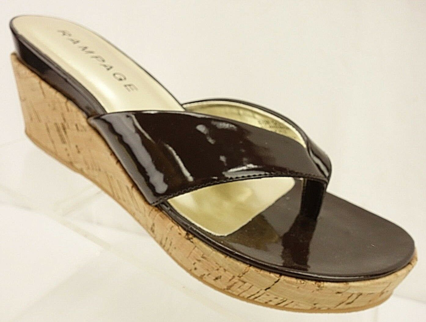 NEW Patent RAMPAGE QUINN Thong Wedges Women's 8.5 M Brown Patent NEW Cork Shoes 3