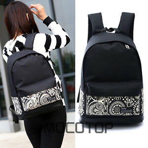 c2000281da02 Image is loading Women-Girl-Black-Canvas-Vintage-Backpack-Rucksack-College-