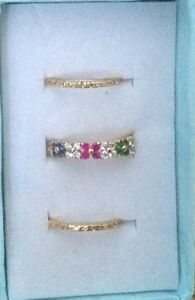 Sterling-Silver-GP-3-Piece-Floral-Ring-Set-Size-7