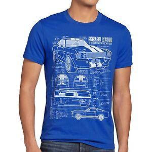 GT 500 Blaupause Herren T-Shirt mustang Auto Musclecar Shelby USA ...