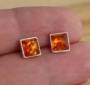 Cognac-Baltic-Amber-925-Sterling-Silver-Square-Stud-Earrings-Jewellery