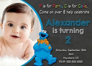 Sesame street cookie monster birthday invitations print your own image is loading sesame street cookie monster birthday invitations print your filmwisefo