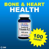 Natural Vitamin K2 - Menaquinone 7 (mk 7) 100 Mcg 100 Caps Quality -purity Usa