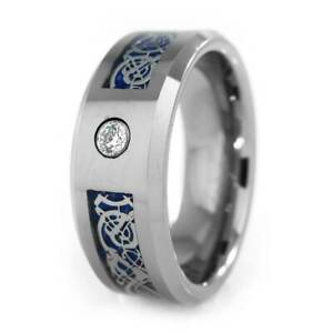6MM 8MM Black and Blue Carbon Fiber CZ Inlay Tungsten Carbide Mens Band Ring