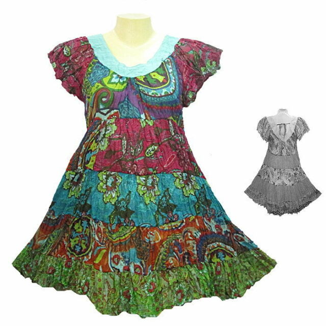 Peasant Boho Hippie Tier Cap-sleeve Colourful Short Cotton Dress - YO358