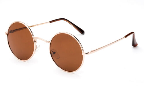 Small John Lennon Sunglasses Round Hippie Hipster Retro Gold Frame UV 100/% New