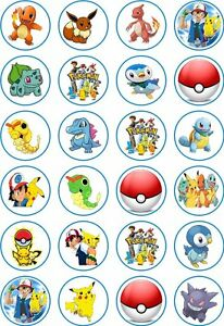 24 Pokemon Cupcake Fairy Cake Toppers Edible Rice Wafer